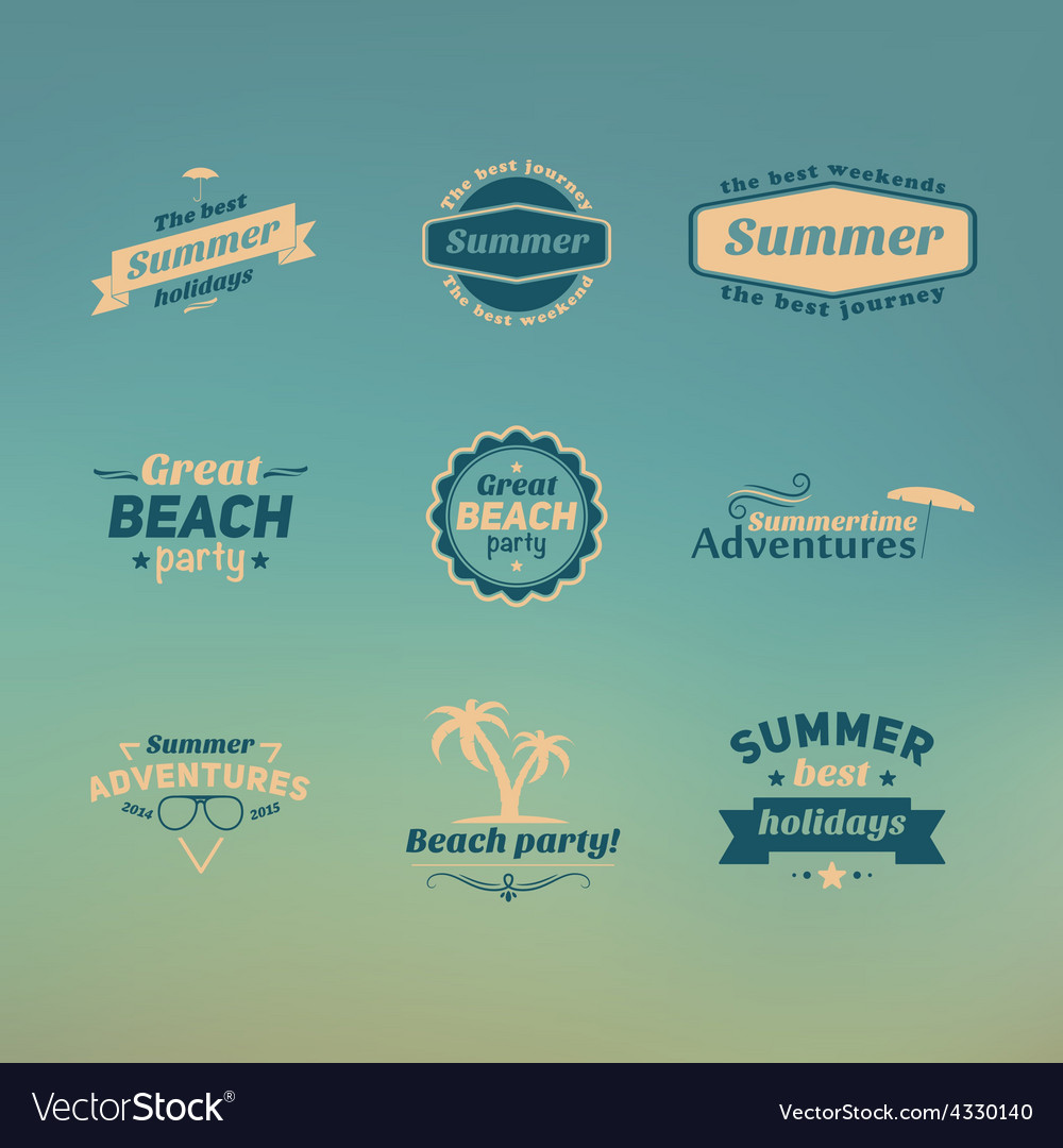 Set of summer retro design elements vintage vector   Price: 1 Credit (USD $1)