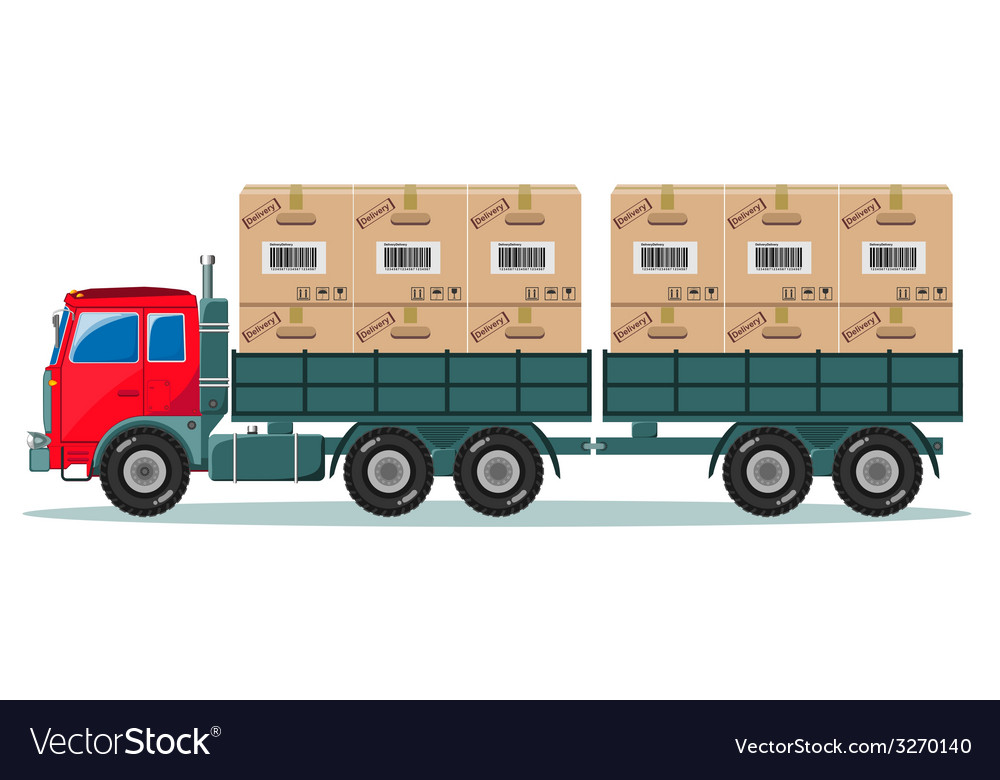 Truck with cargo boxes on trailer vector | Price: 1 Credit (USD $1)