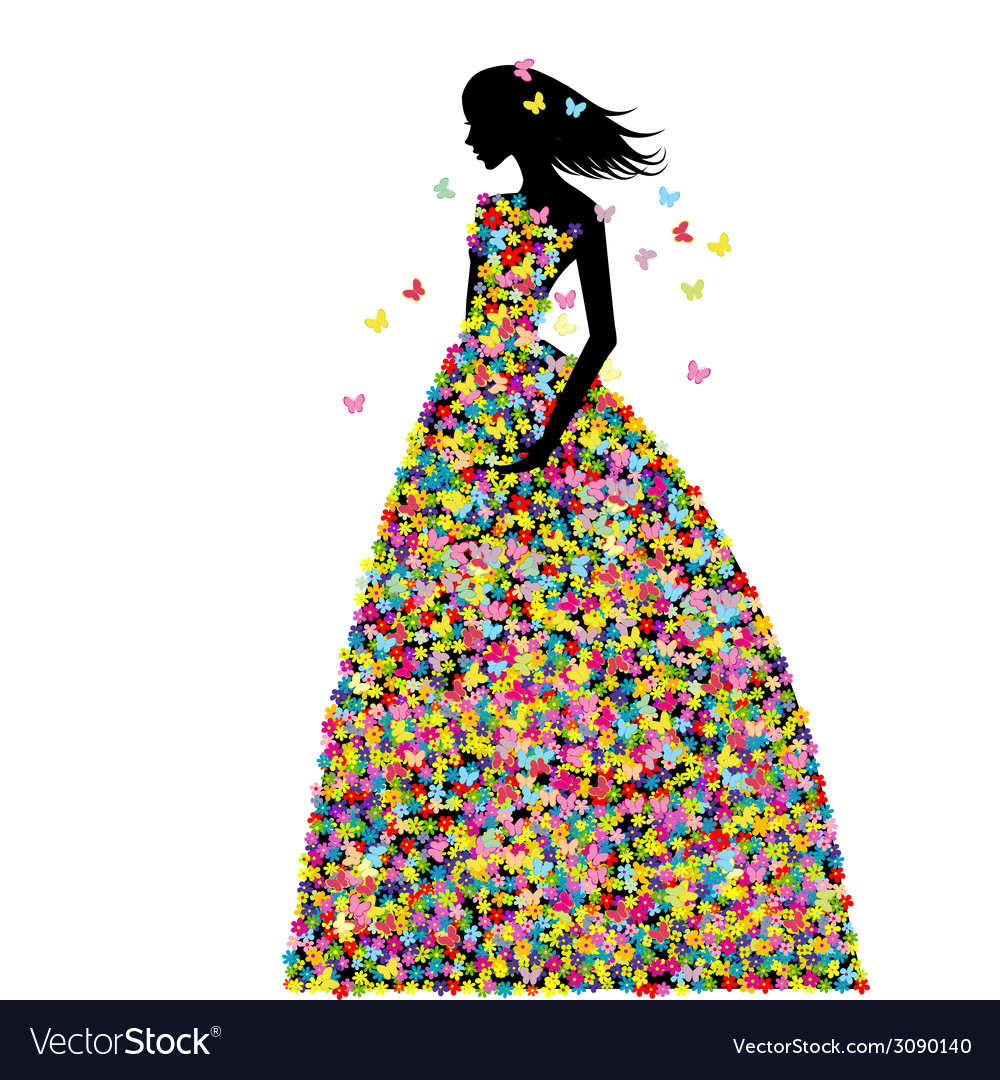 Woman dressed in spring flowers and butterflies vector | Price: 1 Credit (USD $1)