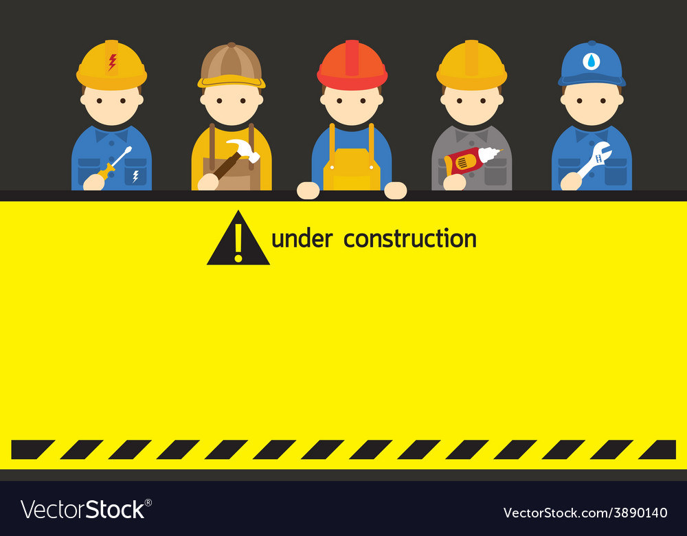 Worker craftsman with under construction sign vector | Price: 1 Credit (USD $1)