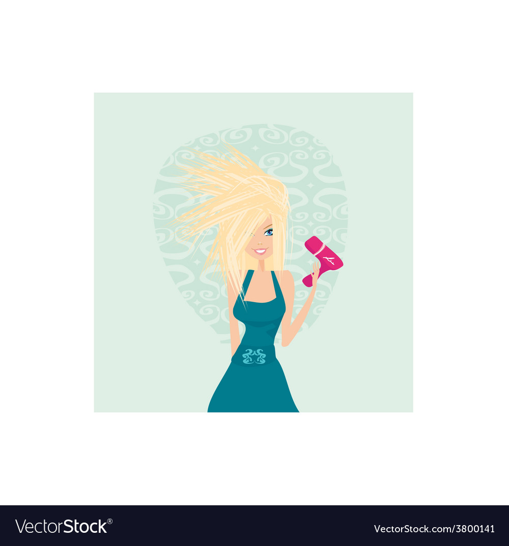 Beautiful woman drying her hair by dryer vector | Price: 1 Credit (USD $1)