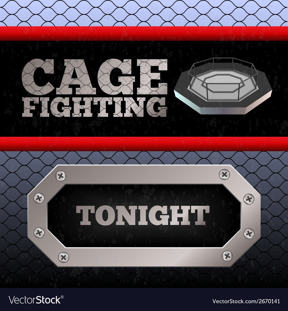 Cage fighting mma poster banner vector | Price: 1 Credit (USD $1)