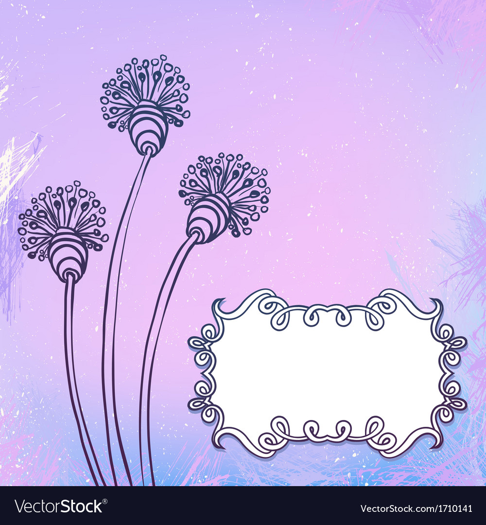Card with flowers on watercolor vector | Price: 1 Credit (USD $1)