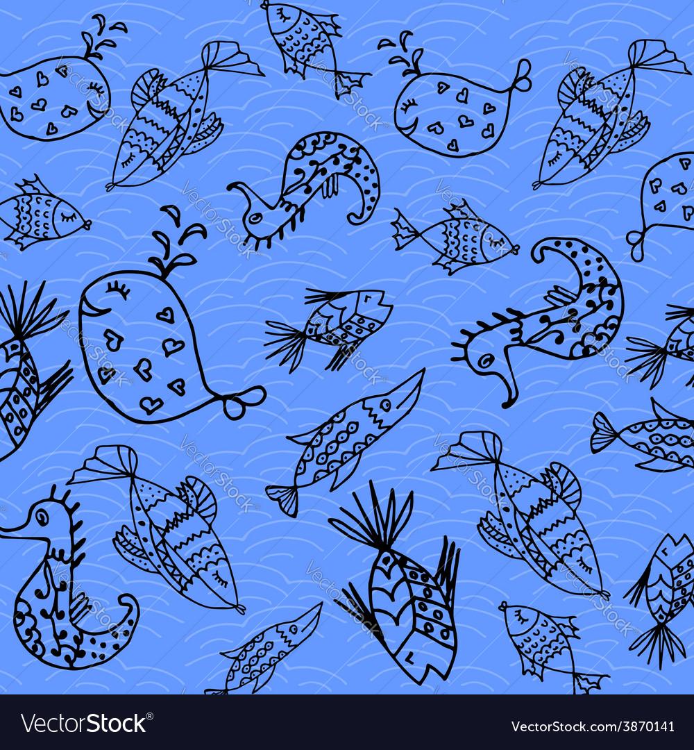 Cartoon fish pattern vector | Price: 1 Credit (USD $1)