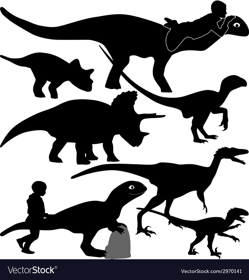 Dinosaur and kid silhouette vector | Price: 1 Credit (USD $1)