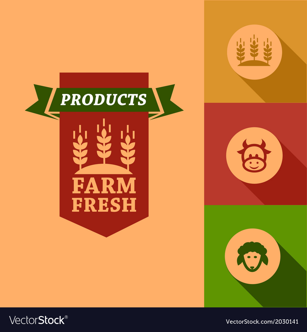 Flat farm fresh design vector | Price: 1 Credit (USD $1)