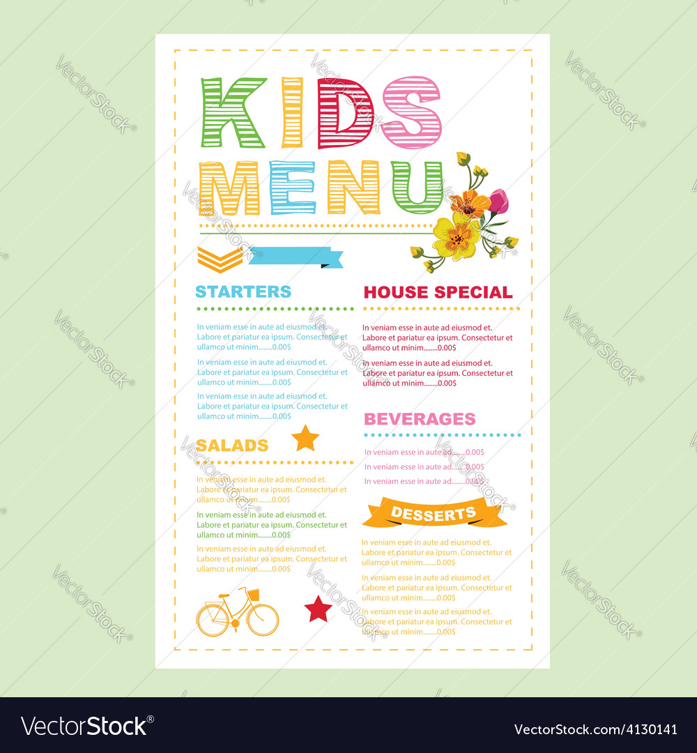 Kids menu template vector | Price: 1 Credit (USD $1)