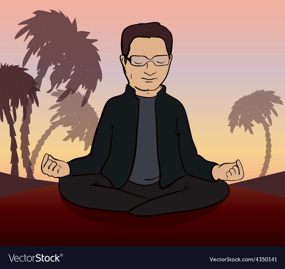 Man meditates in the nature vector | Price: 1 Credit (USD $1)