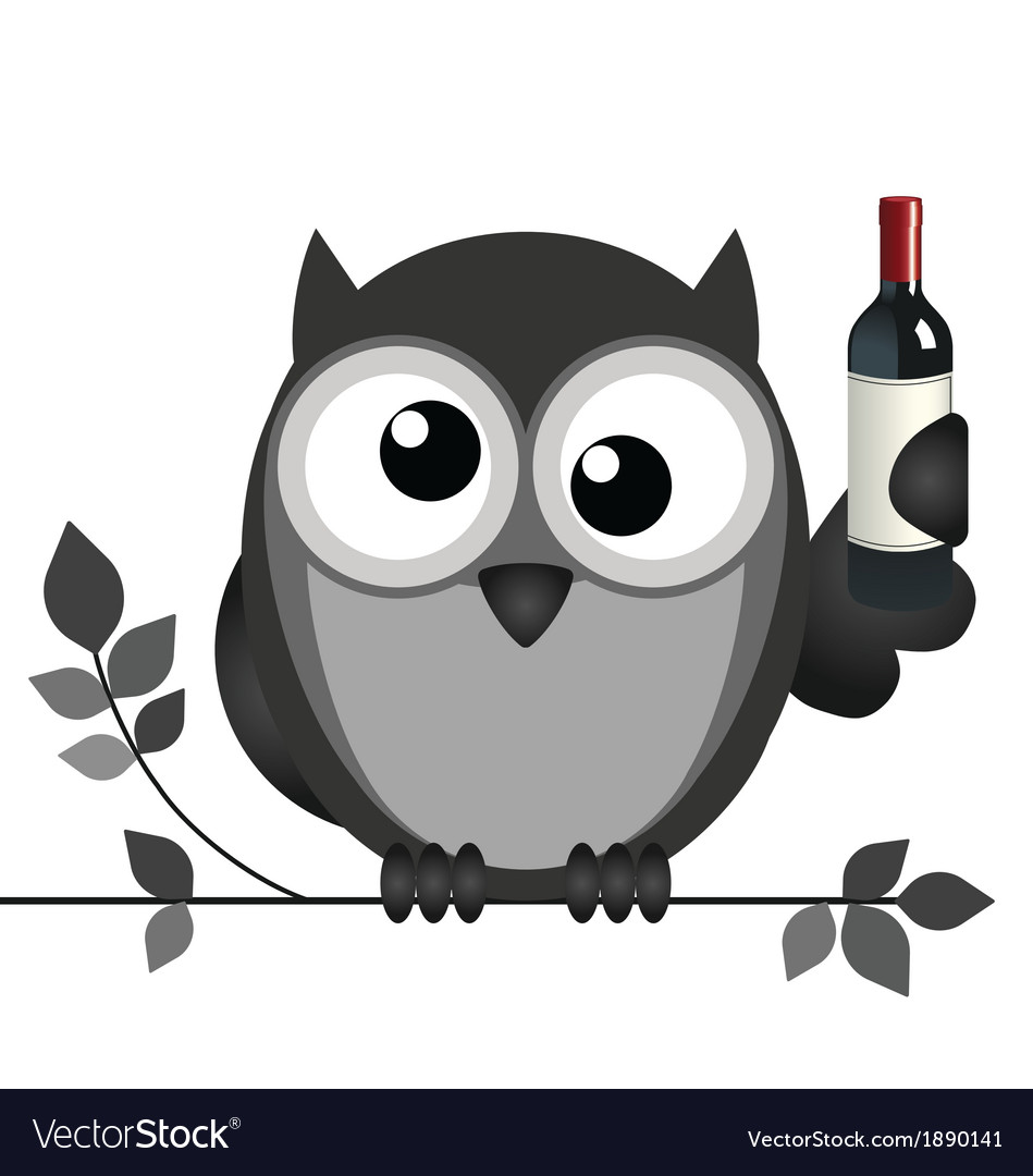 Owl drunk vector | Price: 1 Credit (USD $1)