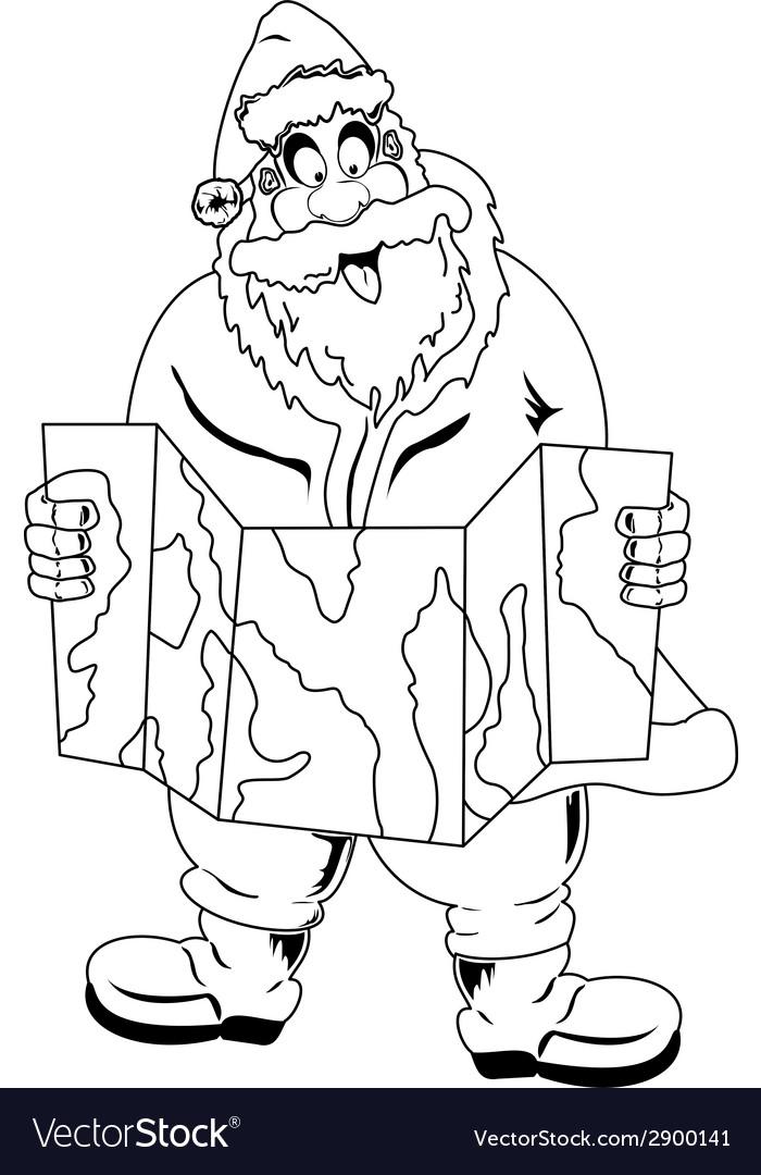 Santa claus reading map vector   Price: 1 Credit (USD $1)