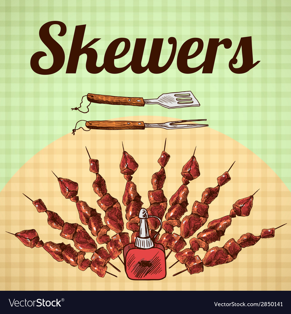 Skewers sketch poster vector | Price: 1 Credit (USD $1)
