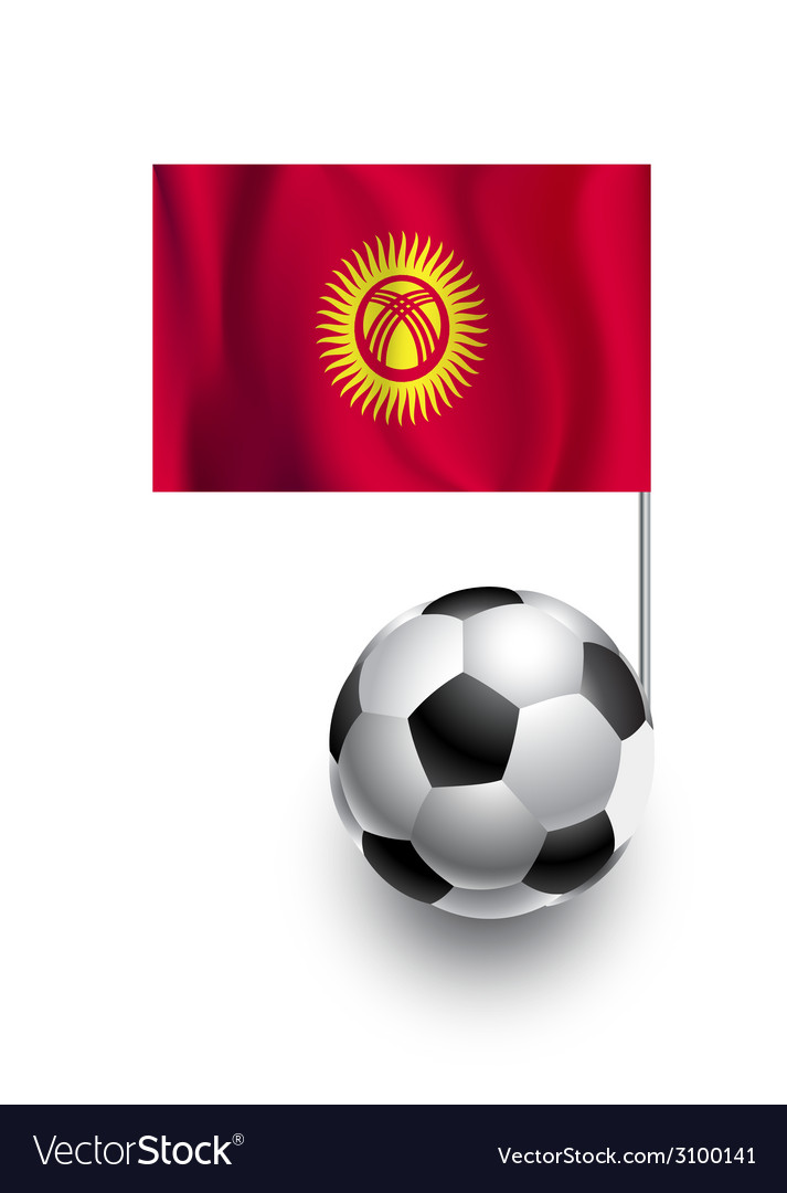 Soccer balls or footballs with flag of kyrgyzstan vector | Price: 1 Credit (USD $1)