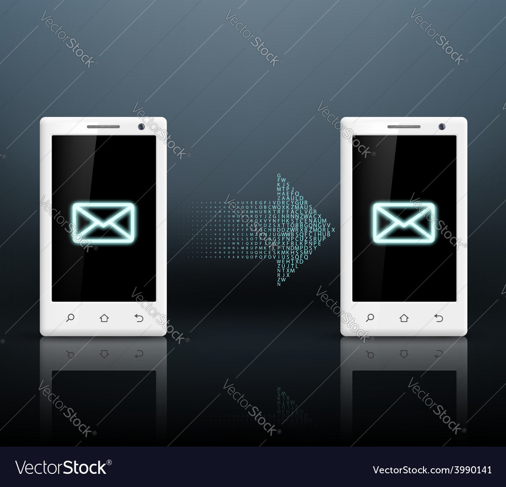Two smartphones transmit messages vector | Price: 1 Credit (USD $1)