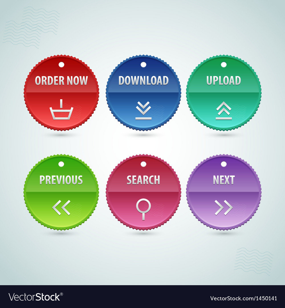 Web circle button set vector | Price: 1 Credit (USD $1)