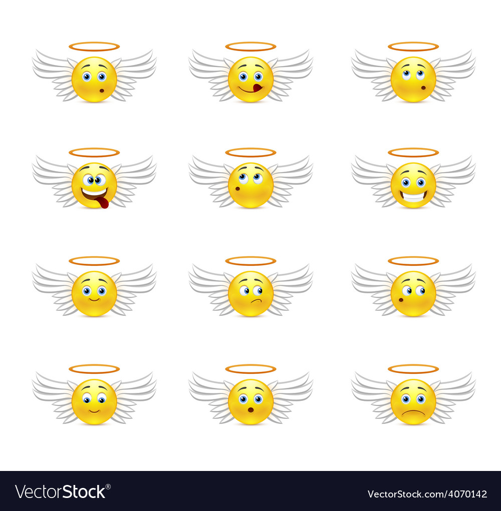Angels smilies vector | Price: 1 Credit (USD $1)
