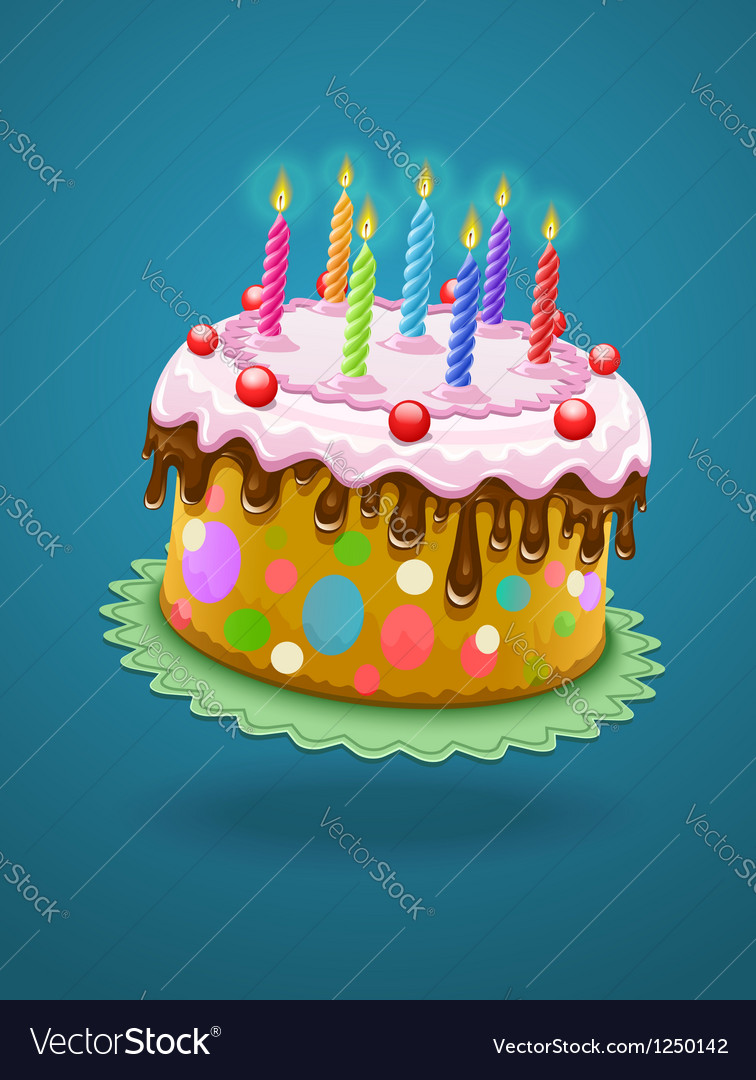 Birthday cake with burning vector | Price: 3 Credit (USD $3)