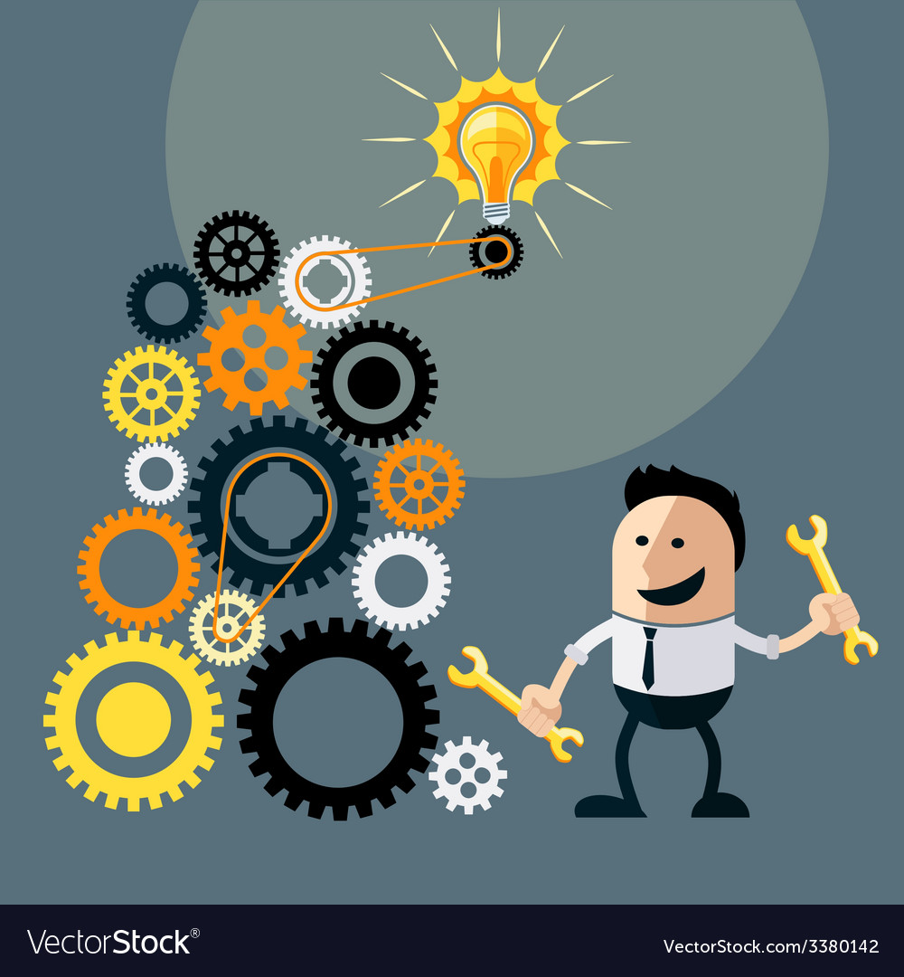 Businessman with ideas happy funny character vector | Price: 1 Credit (USD $1)