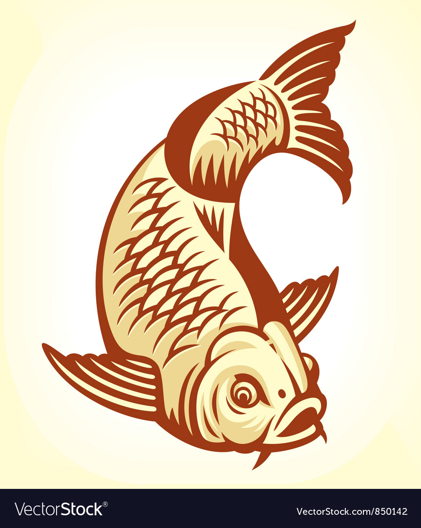 Carp fish cartoon vector | Price: 1 Credit (USD $1)