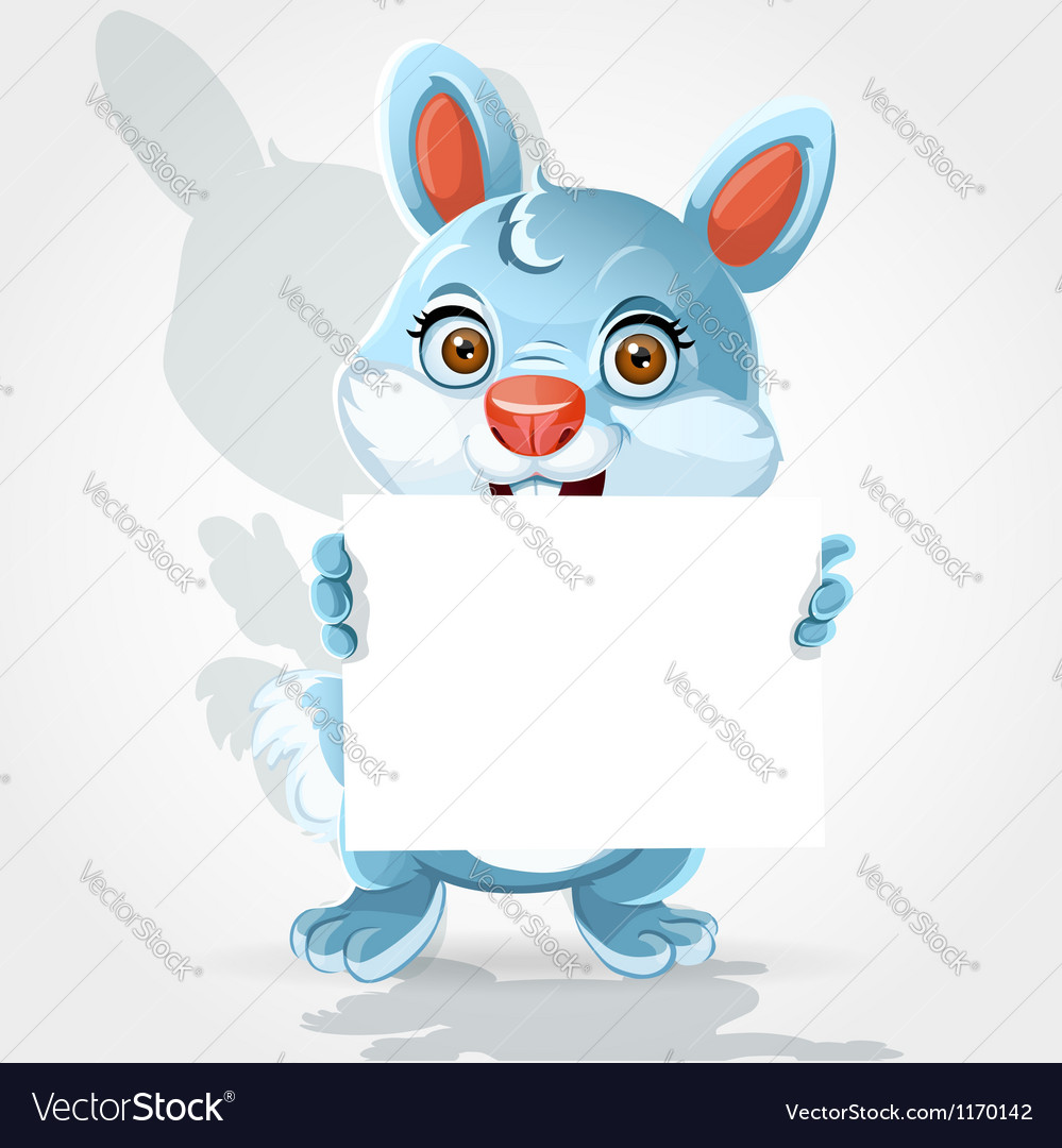 Cute little bunny holding banner vector | Price: 1 Credit (USD $1)