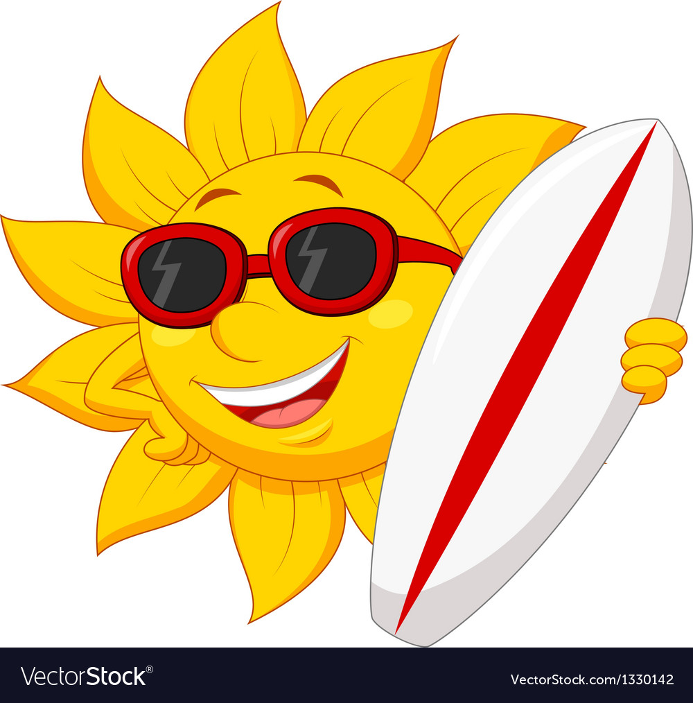 Cute sun cartoon character with surfing board vector | Price: 1 Credit (USD $1)