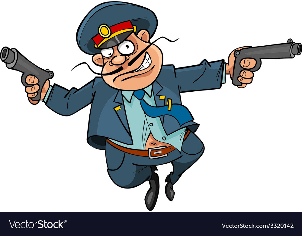 Funny cartoon policeman with guns running vector | Price: 3 Credit (USD $3)