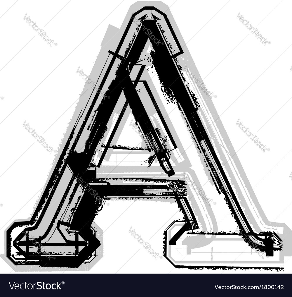 Grunge font letter a vector | Price: 1 Credit (USD $1)