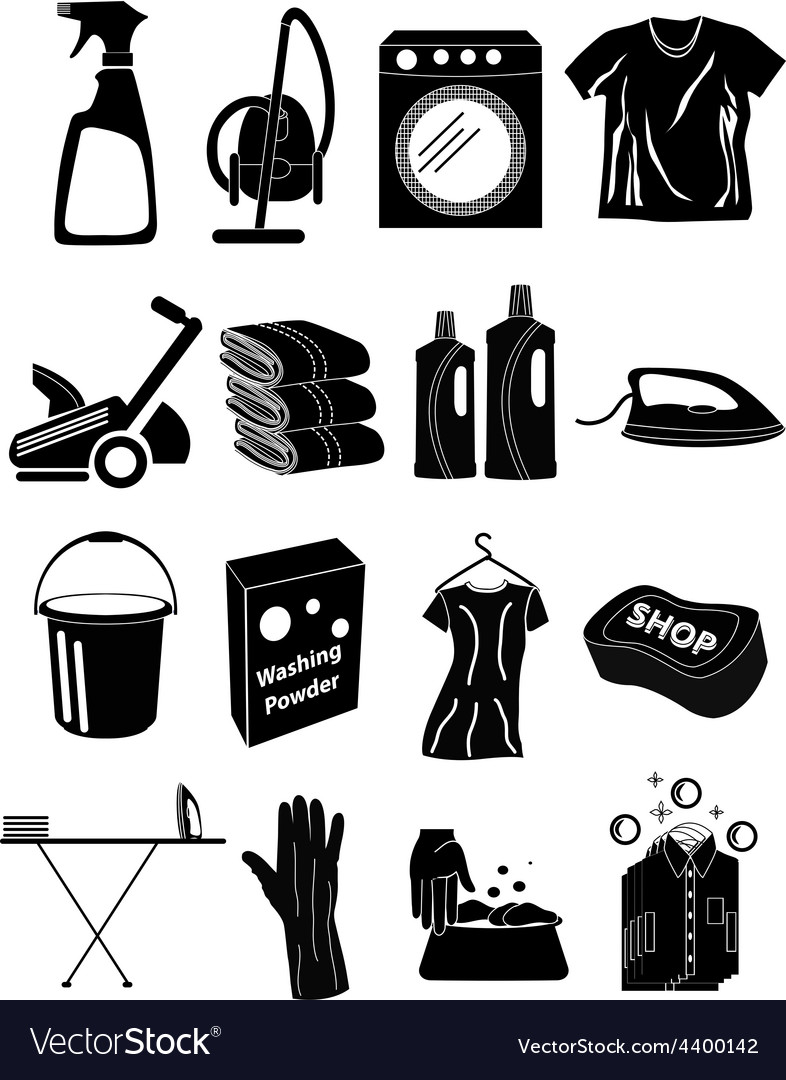 Laundry icons set vector   Price: 3 Credit (USD $3)