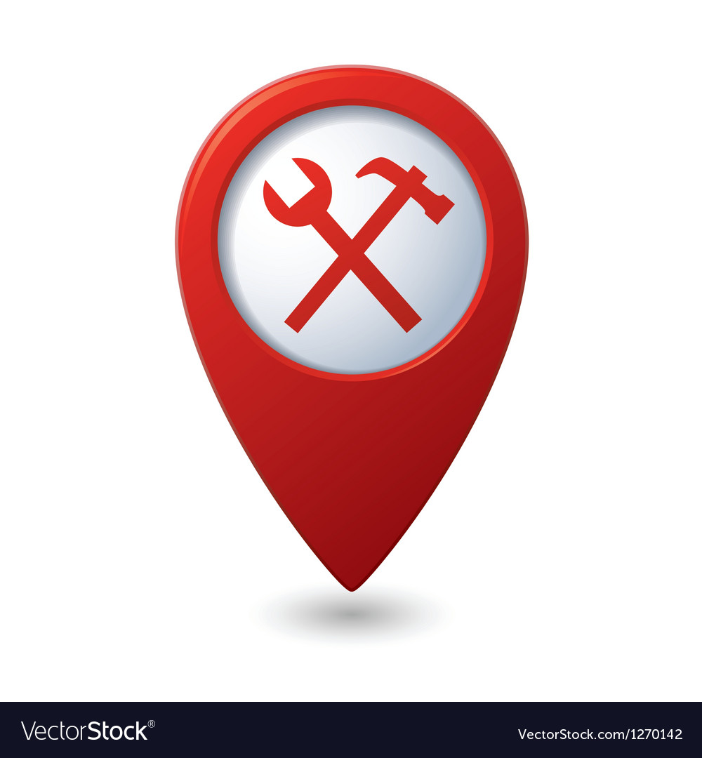 Map pointer with tools icon vector   Price: 1 Credit (USD $1)