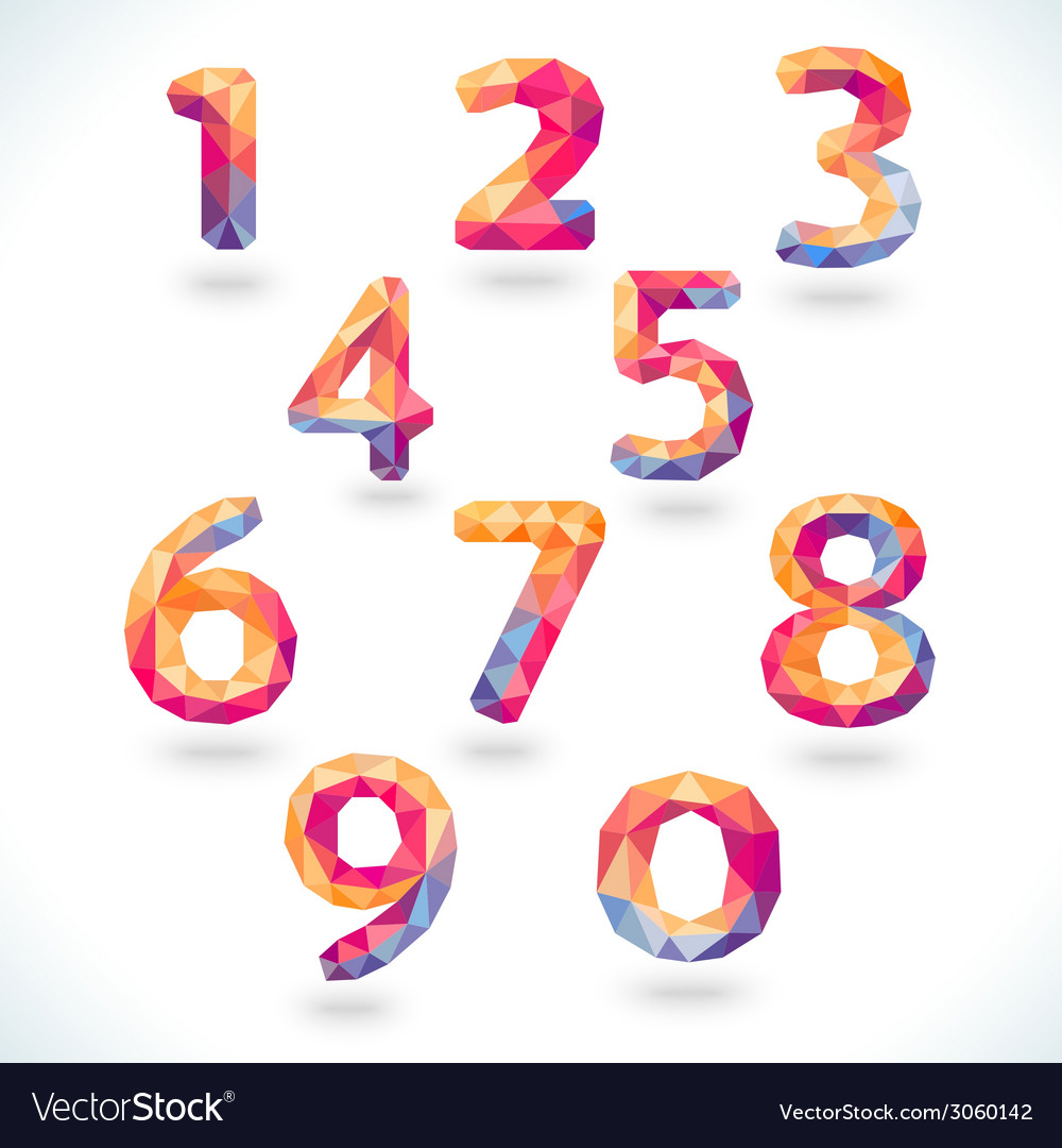 Numbers set in modern polygonal crystal style vector