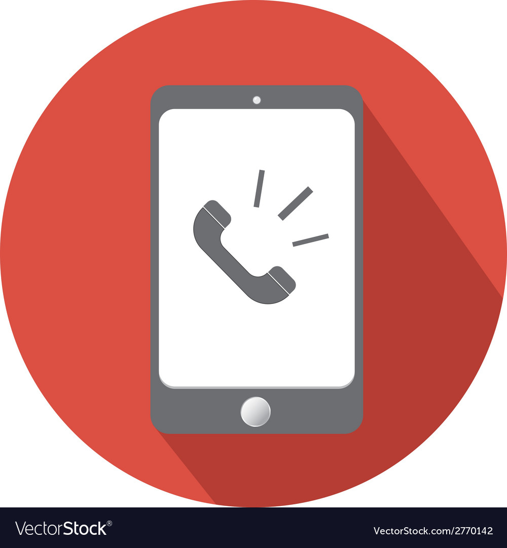 Phone call in smartphone flat icon vector | Price: 1 Credit (USD $1)