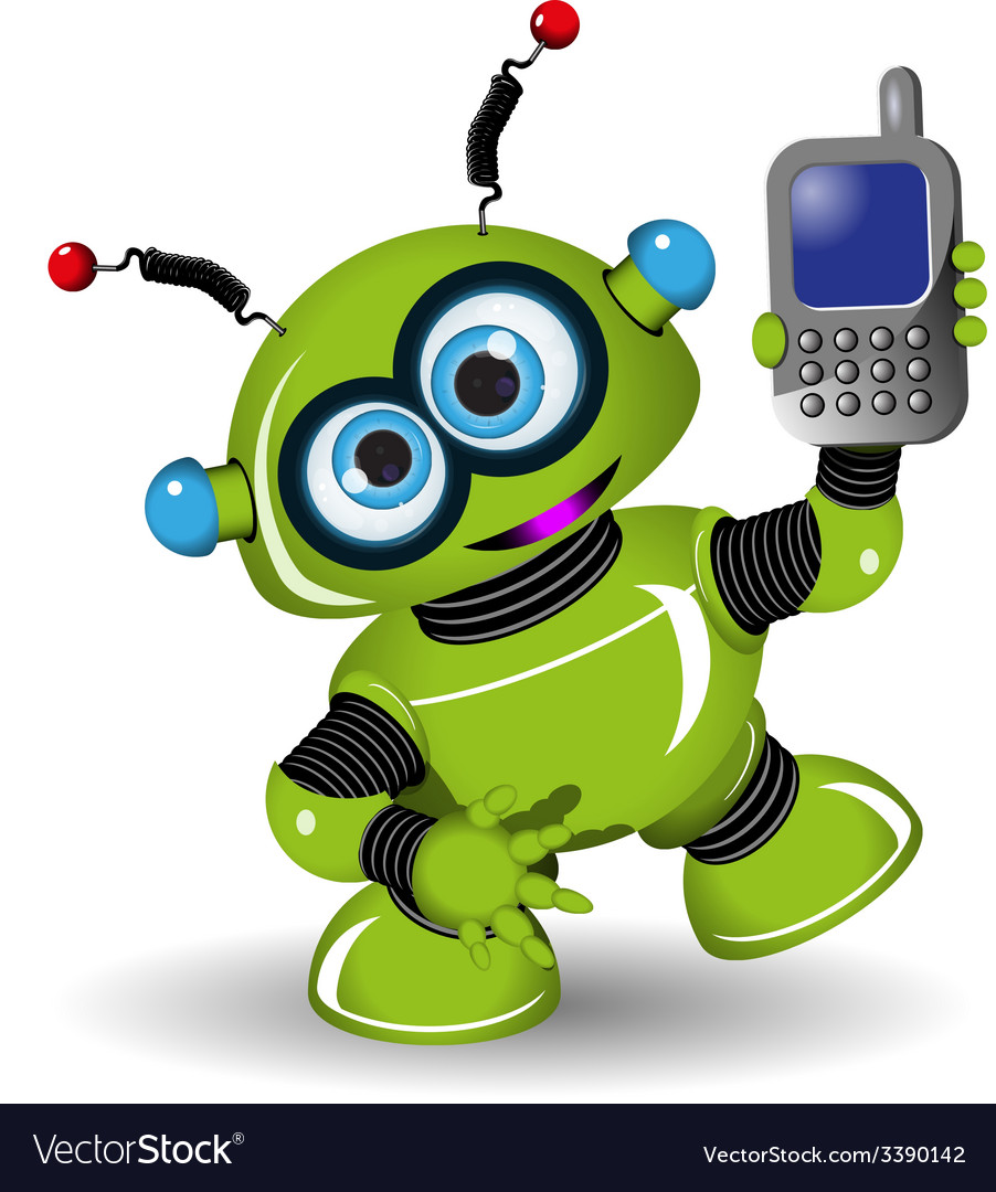 Robot and phone vector | Price: 3 Credit (USD $3)