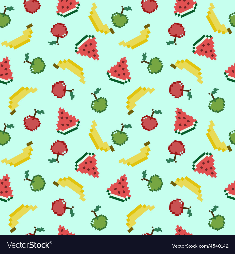 Seamless background with different pixel fruits vector | Price: 1 Credit (USD $1)