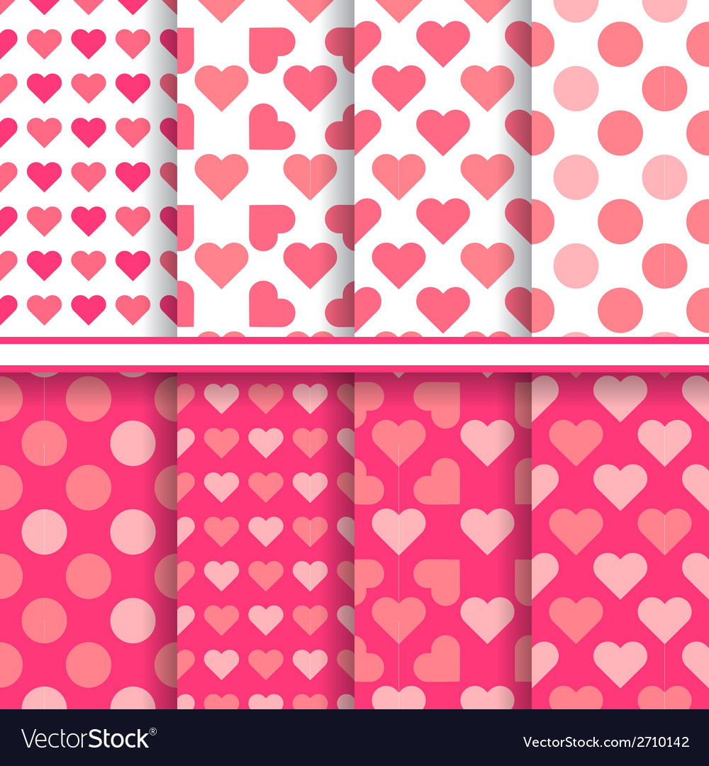 Set of seamless romantic love patterns vector | Price: 1 Credit (USD $1)