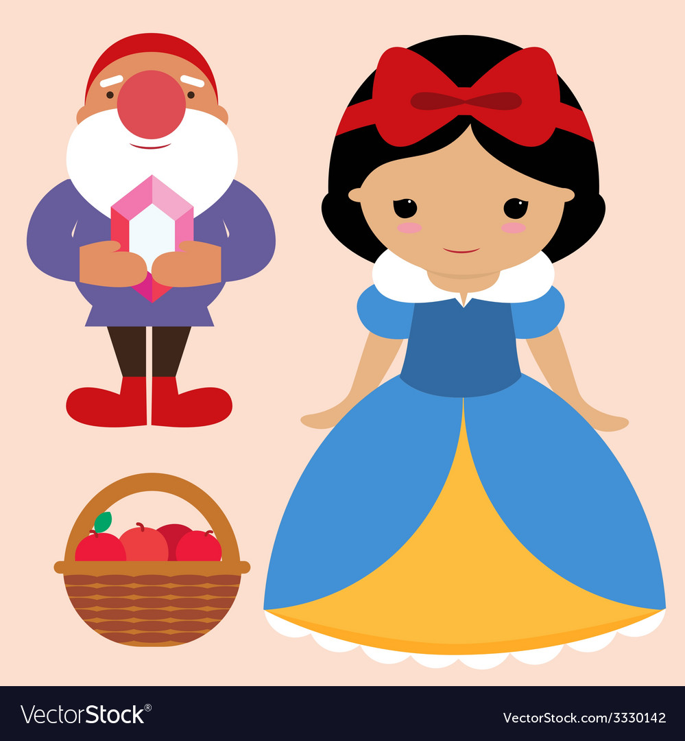 Snow white and gnome vector | Price: 1 Credit (USD $1)