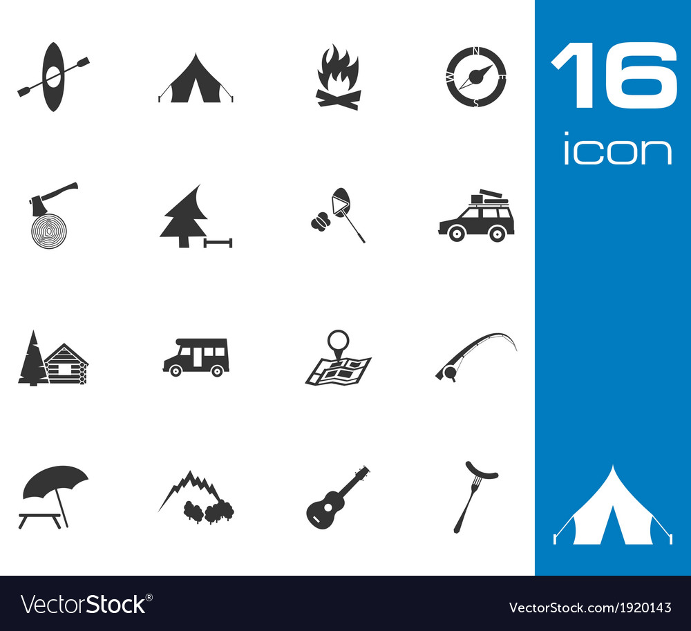 Black camping icons set on white background vector | Price: 1 Credit (USD $1)