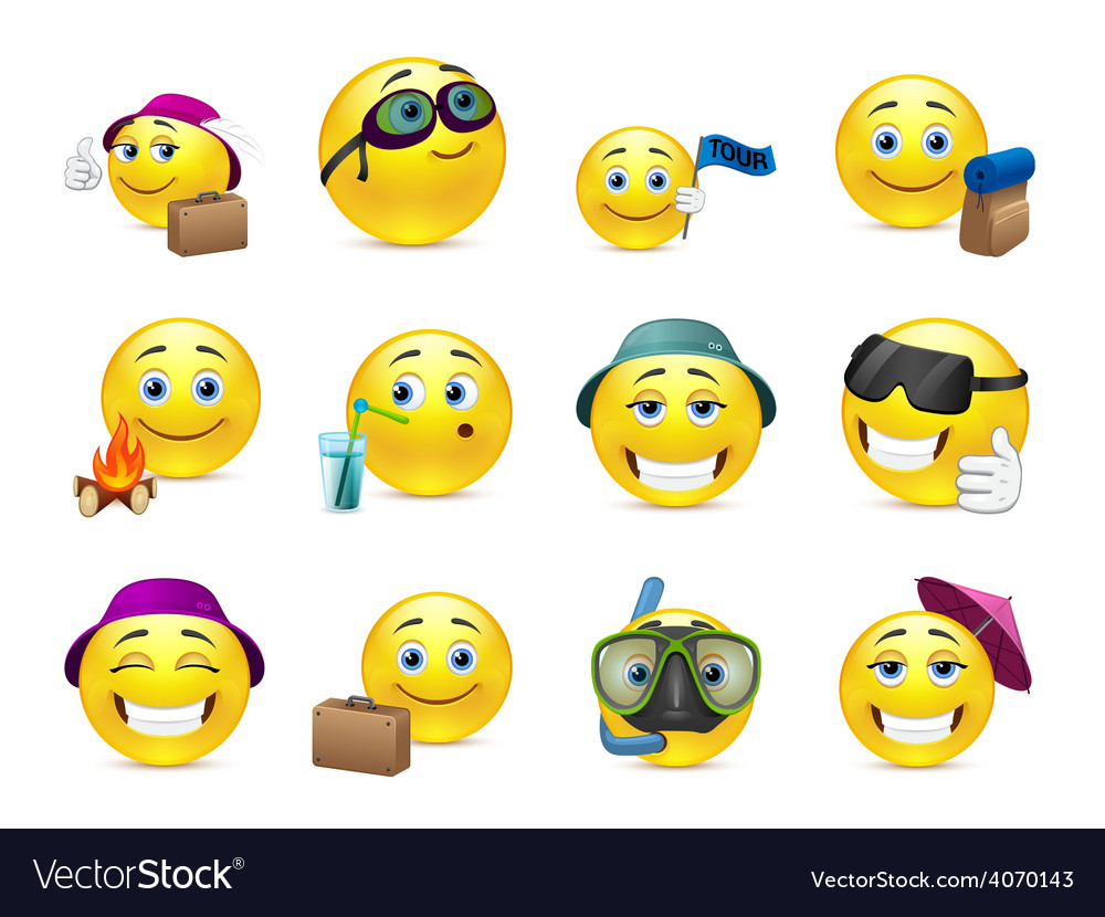 Cheerful smiles on vacation vector | Price: 1 Credit (USD $1)