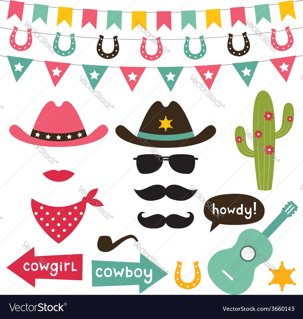 Cowboy design elements set vector
