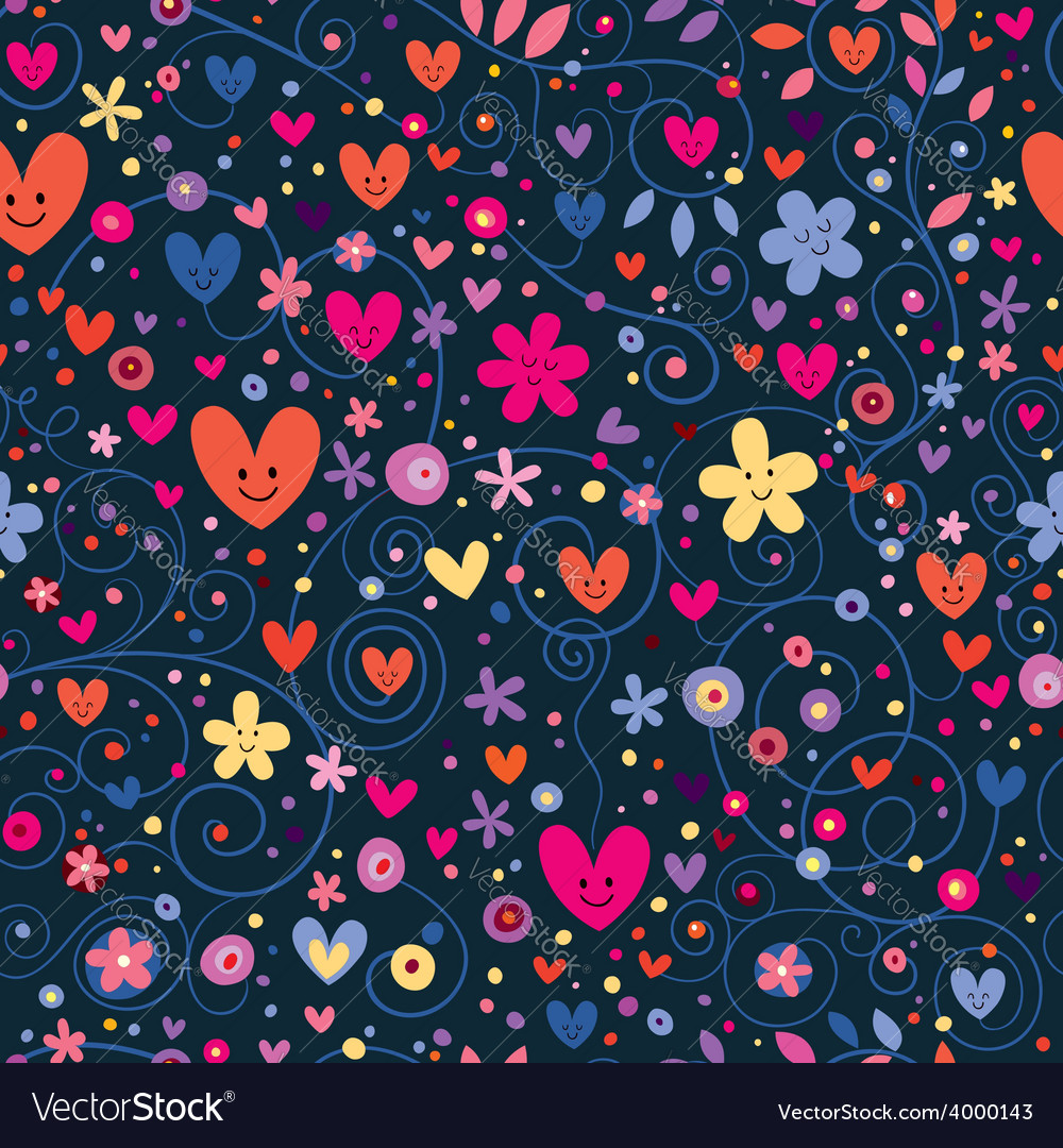 Cute hearts flowers floral pattern vector | Price: 1 Credit (USD $1)