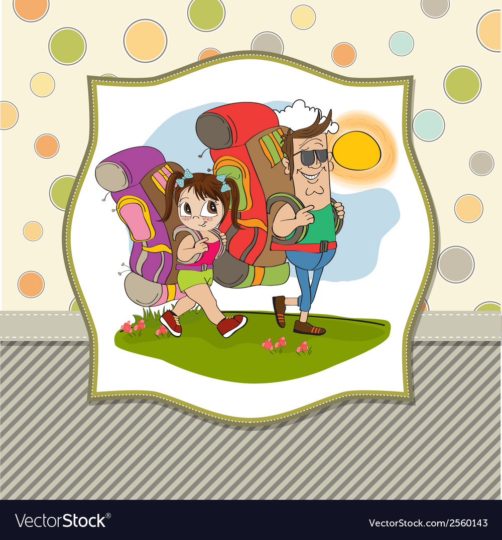 Father and daughter tourist traveling with vector | Price: 1 Credit (USD $1)