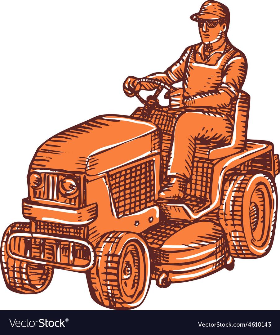 Gardener ride-on mower etching vector | Price: 1 Credit (USD $1)