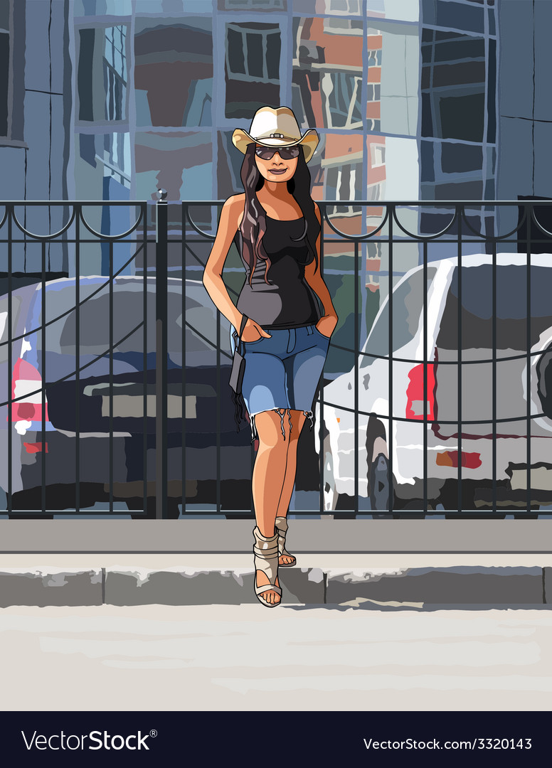 Girl in a cowboy hat on a hot day in the city vector | Price: 5 Credit (USD $5)