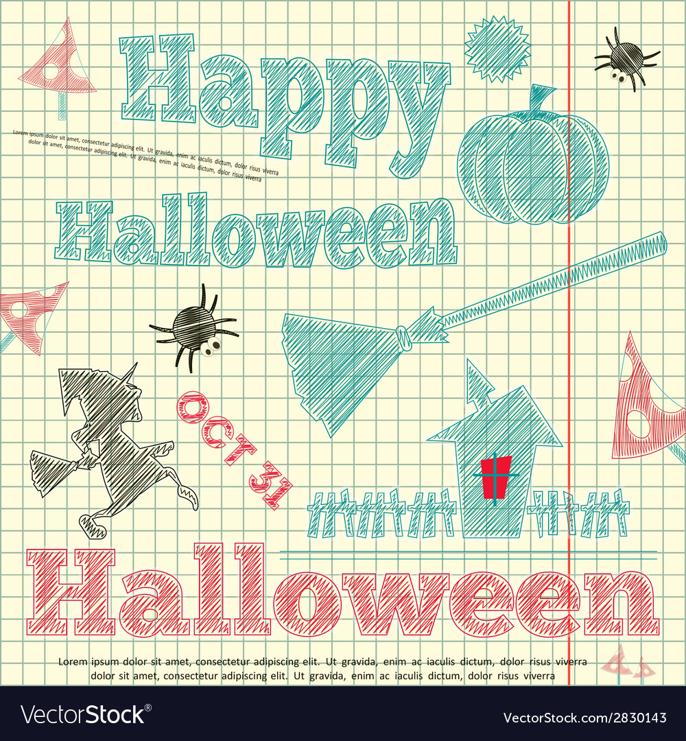 Halloween card sketch vector | Price: 1 Credit (USD $1)