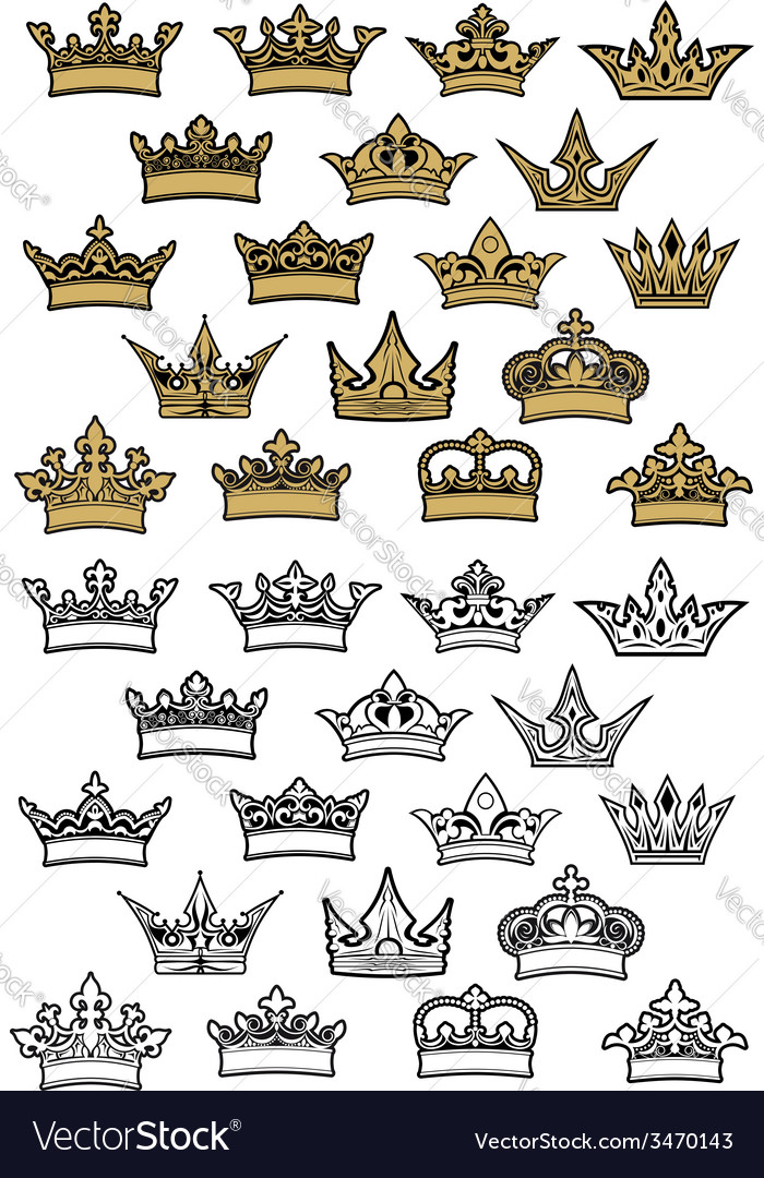 Imperial and royal crowns heraldic set vector | Price: 1 Credit (USD $1)