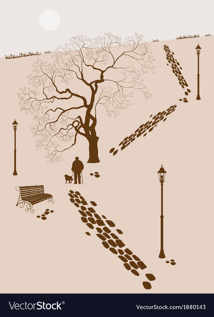 Loneliness a walk in the park man with a dog vector | Price: 1 Credit (USD $1)