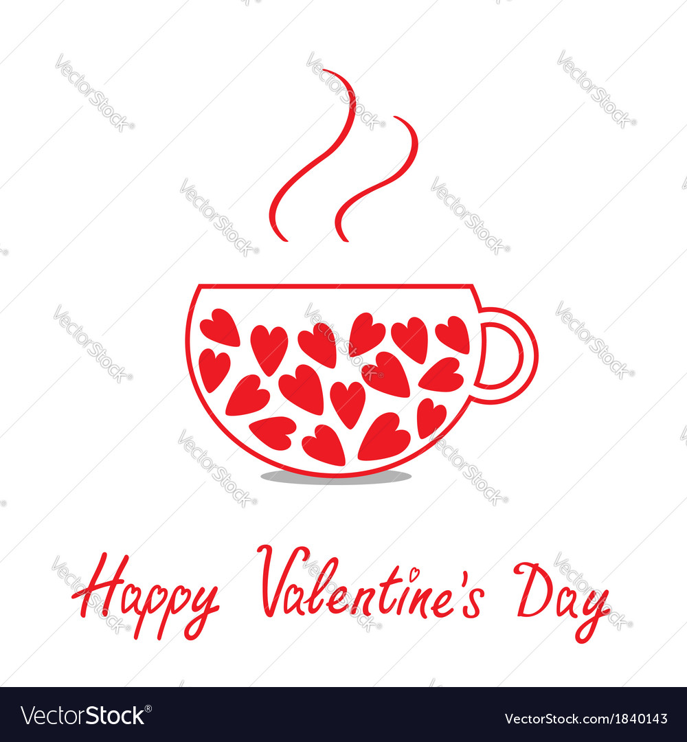 Love teacup with hearts happy valentines day vector | Price: 1 Credit (USD $1)
