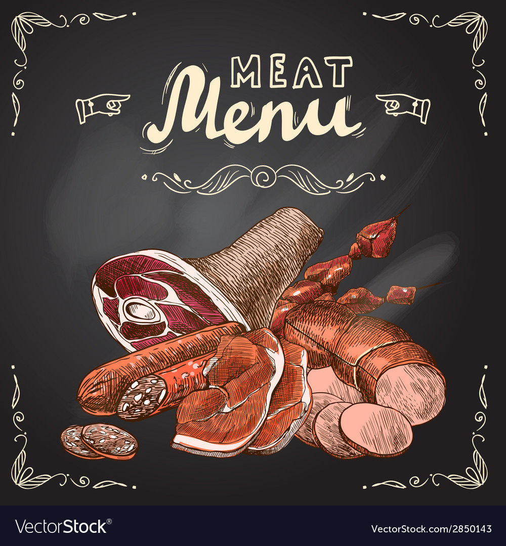 Meat chalkboard poster vector | Price: 1 Credit (USD $1)