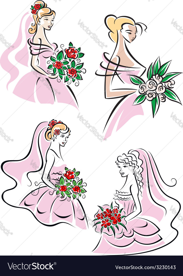 Pretty brides with floral bouquets vector | Price: 1 Credit (USD $1)