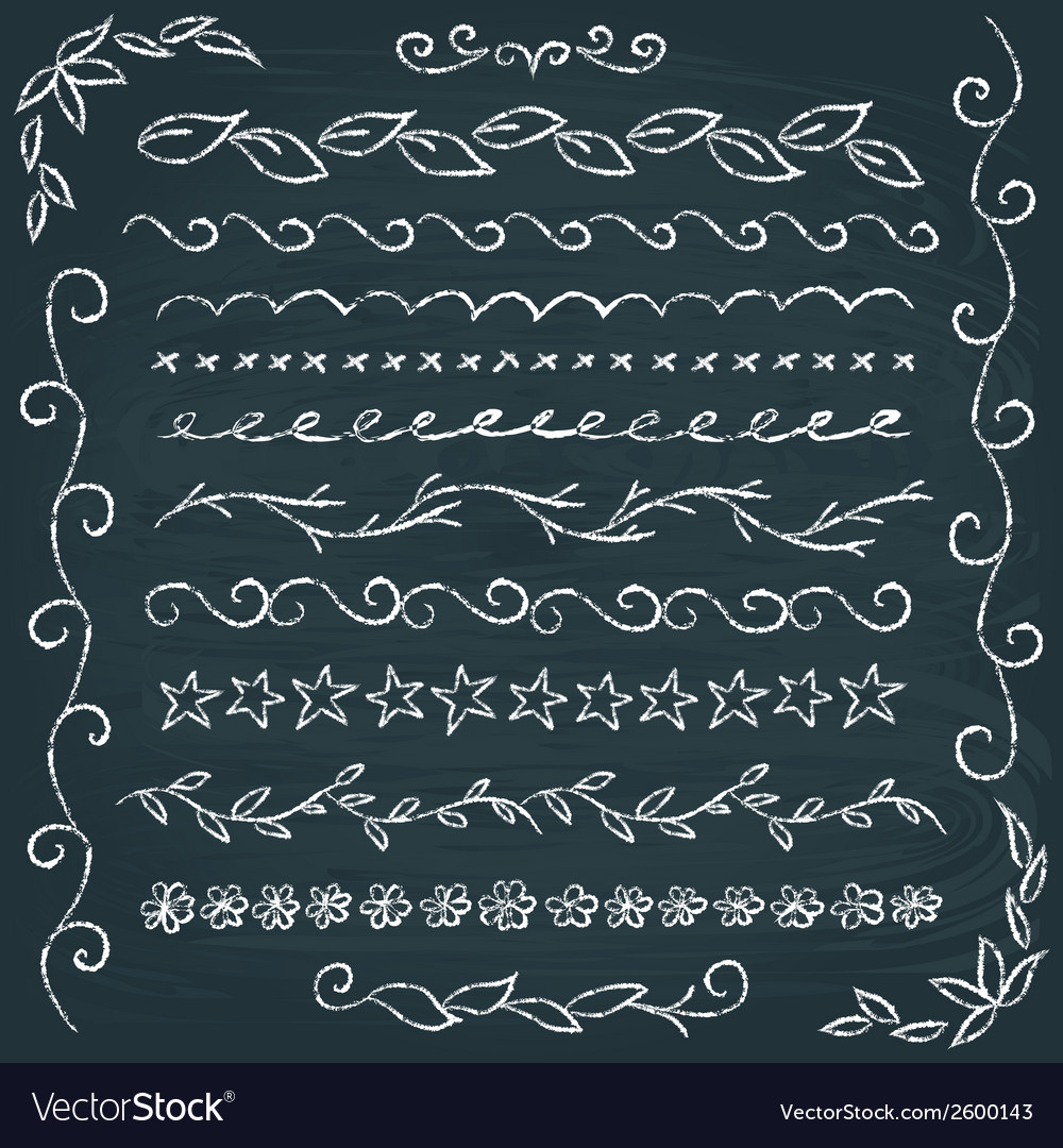 Set of hand drawn chalkboard borders vector