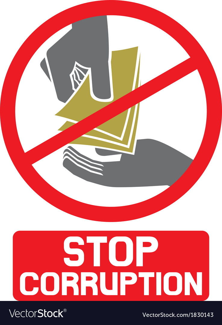 Stop corruption sign vector | Price: 1 Credit (USD $1)
