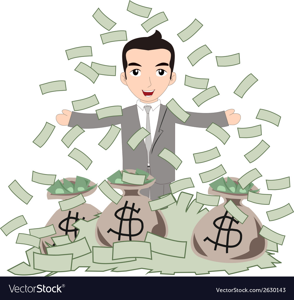 Successful business man under money rain vector | Price: 1 Credit (USD $1)